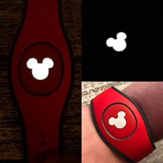 Set of 5 Disney MagicBand Decal Sticker Skins Glow In The Dark Mickey Head for Magic Band 1.0 and 2.0