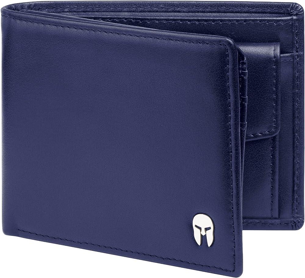 Spartano portafoglio da uomo in vera pelle con protezione rfid per le carte di credito ZEUS