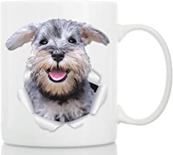 Smiling Schnauzer Mug - Ceramic Gray Schnauzer Coffee Mug - Perfect Schnauzer Gifts - Funny Cute Schnauzer Coffee Mug for Dog Lovers and Owners (11oz)