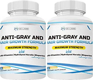 Anti-Gray and Hair Growth Formula | Multivitamin Pills+ Hydrolized Keratin+Biotin+ Bioperine for Breakage & Graying Prevention | Promotes Regrowth for All Hair Types (2-Pack (120 Capsules))
