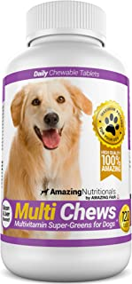 Amazing Multivitamin for Dogs - Super-Green Dog Vitamin Bacon Flavored Treats - 120 Chews