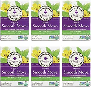 Pack of 6 x Traditional Medicinals Organic Smooth Tea - Senna Peppermint - 16 Bags