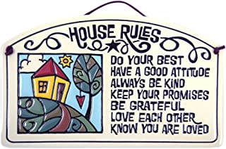 Modern Artisans House Rules Quote Ceramic Arch Family Plaque, 8.5-Inches, American Made