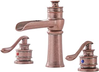 BWE Antique Copper Commercial Waterfall 8-16 Inch 3 Holes Two Handle Widespread Bathroom Sink Faucet Deck Mount