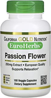California Gold Nutrition Passion Flower, EuroHerbs, 250 mg, 180 Veggie Capsules