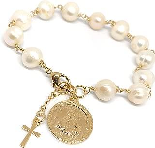 St Jude Charm Bracelet Cultured Pearl Adjustable San Judas jewlery