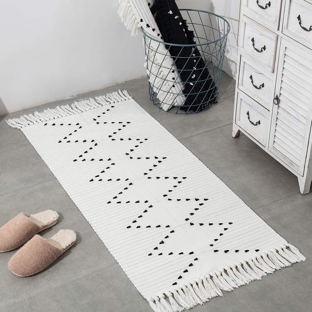 Off White Moroccan Boho Bathroom Rug Runner, Cotton Woven Small Hallway  Bath Mats, Flatweave Tassels Washable Long Rugs for Front Door Kitchen, ...