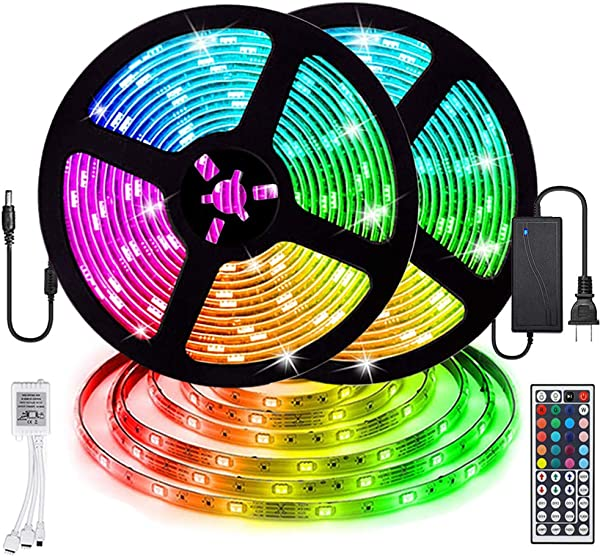LED Strip Lights Starlotus Waterproof 32 8ft 10M LED Light Strip SMD5050 300Leds RGB Color Changing LED Strips With 44 Keys IR Remote Controller And 12V Power Supply For Indoor And Outdoor Lighting
