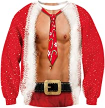 ALISISTER Ugly Christmas Sweatshirt 3D Unisex Adult Cool Xmas Pullover T-Shirts Tee Top Long Sleeve Red