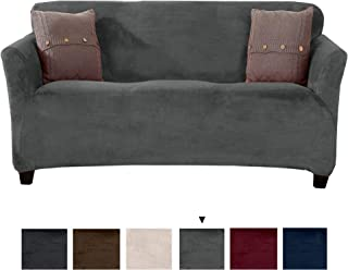 Original Velvet Plush Stretch Sofa Slipcover. Strapless Sofa Cover, Furniture Protector for Couch, Soft Anti-Slip, High Stretch for 3 Seat Sofa. (Sofa, Wild Dove Grey)