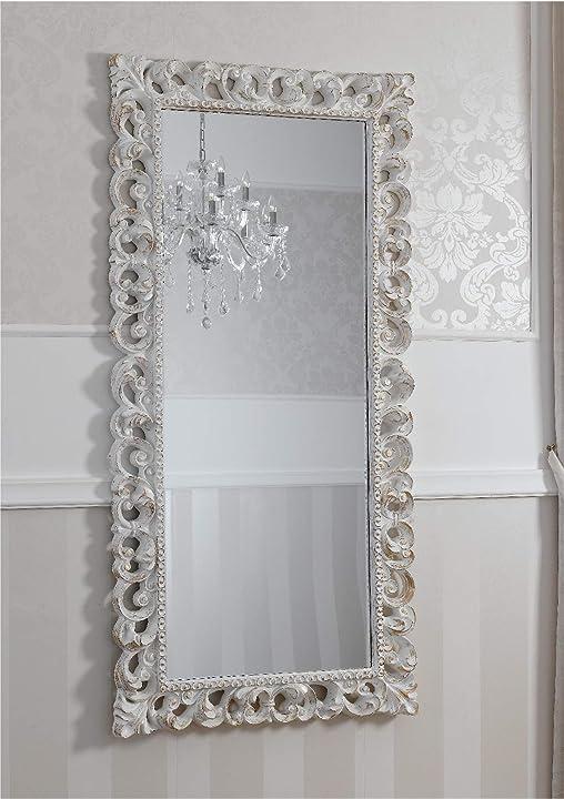 Specchiera zaafira stile barocco cornice traforata avorio e foglia oro specchio molato cm 175 x 87 SI550010CGL