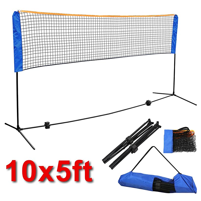Smartxchoices 10FT Portable Net with Stand Frame Bundle Kit for Tennis Beach Volleyball Badminton Pickleball, 5FT Height Adjustable Easy Setup Training Competition - Indoor Outdoor