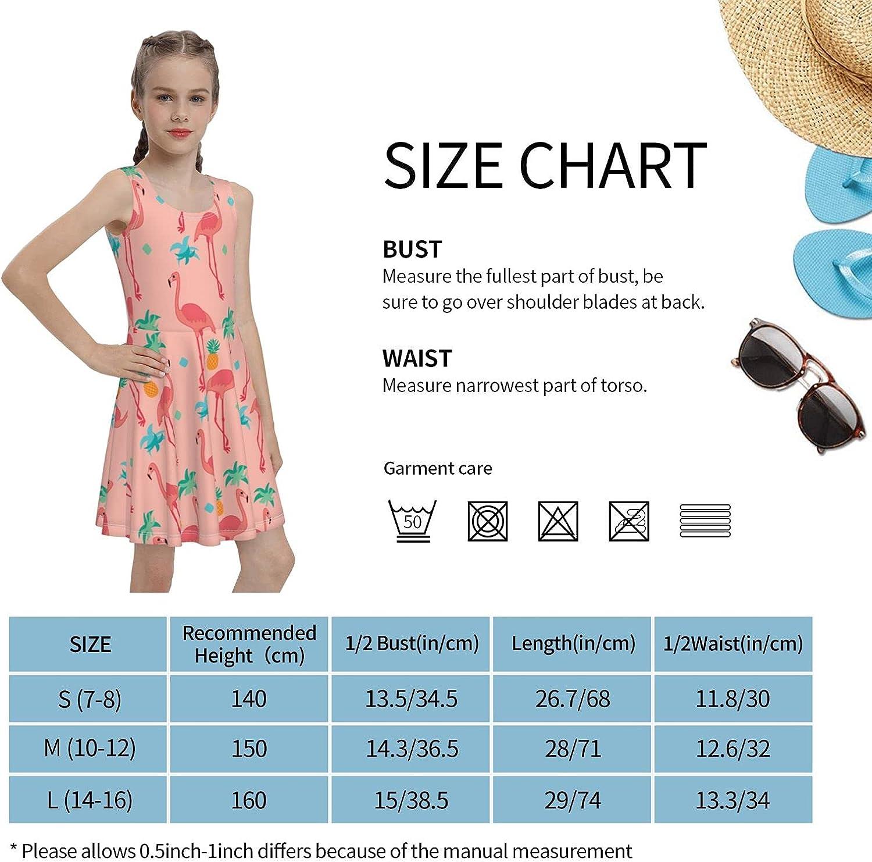Flamingo Palm Tree Sleeveless Dress for Girls Casual Printed Jumper Skirt