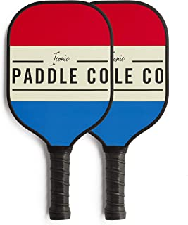 Iconic Paddles Pickleball Paddle–Graphite Face with Polypropylene Honeycomb Composite Core – Cushion Grip – Protective Neoprene Cover – Multiple Color Options