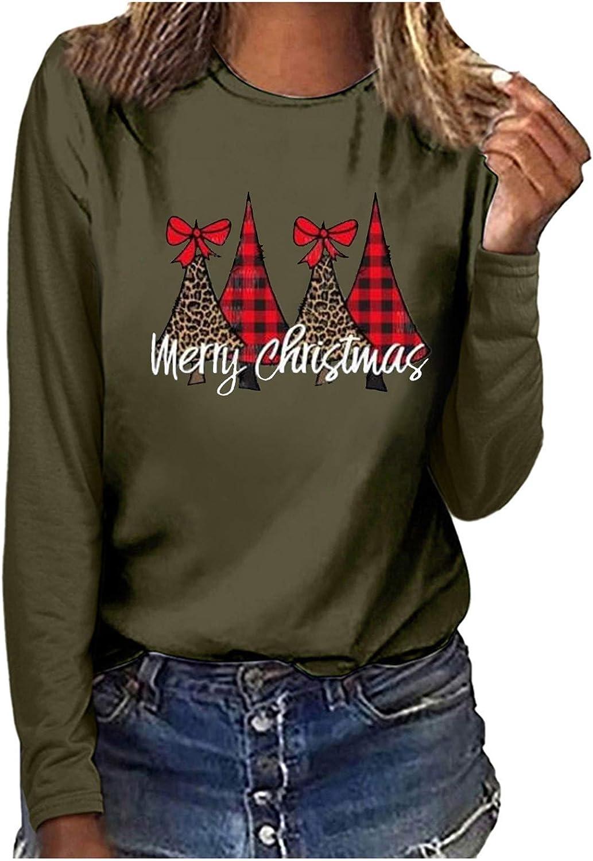 Kethorina Merry Christmas Graphic Outlet SALE Shirt Leopard Long Plaid Women mart