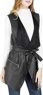 DIASHINY Women`s Lapel Sleeveless Faux Leather Long Vests, Drape Open Front PU Cardigan