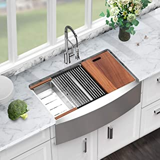 Sarlai 33 Inch Farmhouse Sink Ledge Workstation Low Divide Double Bowl 50/50 16 Gauge Stainless Steel Kitchen Sink