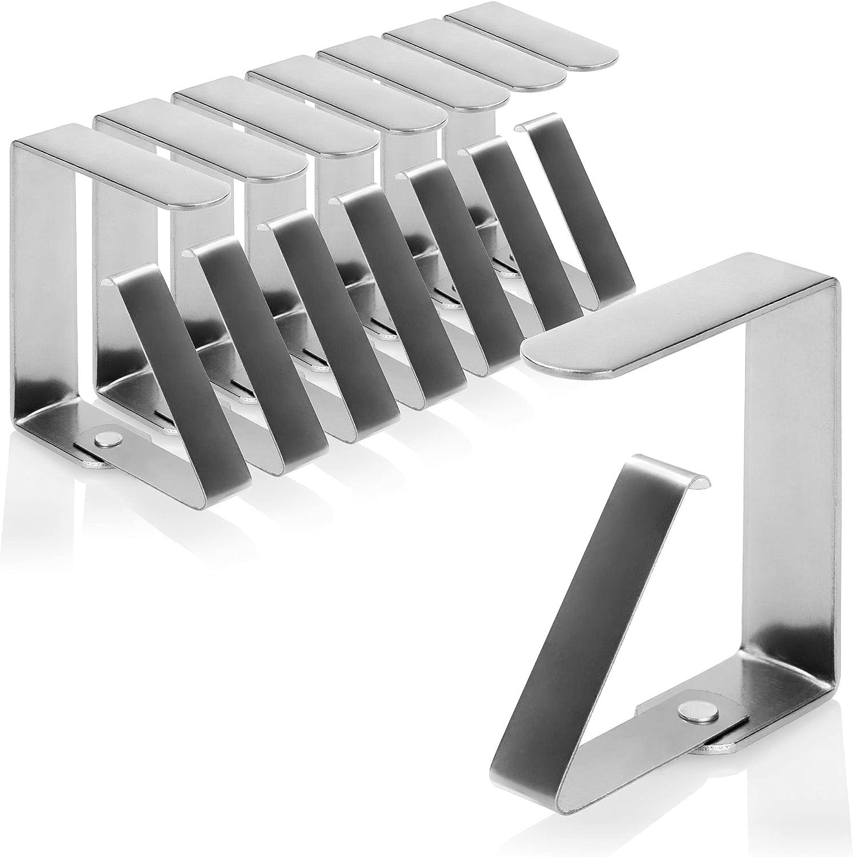 com-four® 8X Pinzas para Mantel Premium - Pinzas para Mesa de Acero Inoxidable - Pinzas para Mantel Interior o Exterior