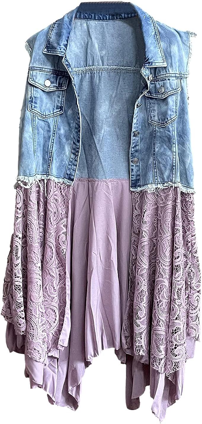 SeeKMe Women's Denim Vest Lace Crochet Hem Patchwork Sleeveless Wash Jean Jacket
