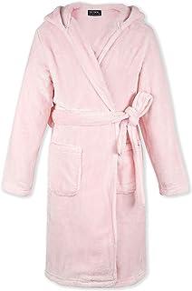 DOTDOG Kids Soft Flannel Hooded Robe Classic Casual Pajamas Plush Coral Fleece Bathrobe for Boys or Girls 3-12 Years (Pink, XL)