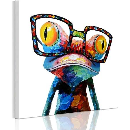 RAIN QUEEN 50 * 50cm Multicolor Animal Grand Format Impression sur Toile Bois Châssis Wall Art (50X5cm Grenouille)