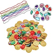 YIQIHAI 300pcs Pirate Toys, 144 Gold Coins 120 Pirate Gems and Rings Necklaces for Pirate Party, Treasure Hunt Game and Party Favors