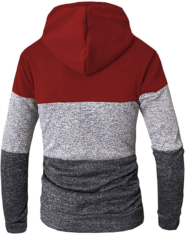 Huangse Mens Hooded Sweatshirt Contrast Color Long Sleeve Drawstring Active Hoodie Pullover with Kangaroo Pockets