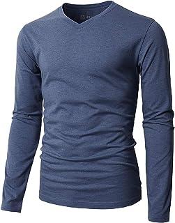 H2H Blue Dark Mens US Size XL V Neck Long Sleeve Tee Classic T-Shirt