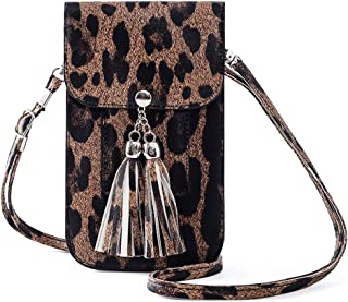 Small Fringe Leather Crossbody Bag Cell Phone Purse Wallet with Touch Screen Credit Card Slots Carabiner for Women Gift