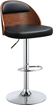 ACME Camila Black Faux Leather Stool with Adjustable Height and Swivel 1 Piece