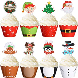 Blulu 96 Pieces Christmas Party Decorations Christmas Cupcake Topper Wrappers Santa Claus Snowman Reindeer Elf Penguin Chr...