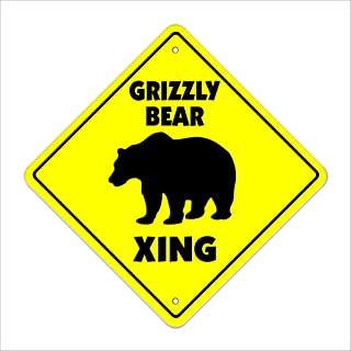 Grizzly Bear Crossing Sign Zone Xing   Indoor/Outdoor   12