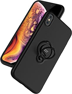 ICONFLANG for iPhone Xs Max Case, Ultra-Slim iPhone Xs Max Case with Ring Holder Stand Compatible Magnetic Car Mount Cover Case for Apple iPhone Xs Max (2018) 6.5 inch - Black