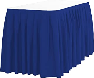 LinenTablecloth 17 ft. Accordion Pleat Polyester Table Skirt Royal Blue
