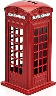 Cafurty Telephone Piggy Bank, Red Metal London Street Telephone Booth Piggy Bank Coin Bank Coin Box - Mini(5