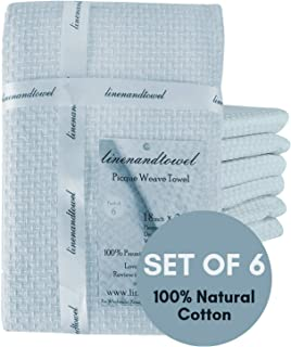 Linen and Towel Dish Towels | 6-Pack 130 Thread Count Ring Spun Cotton Pique Weave | Large 18