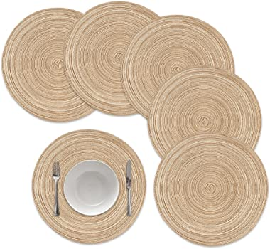 famibay Round Placemats, Round Braided Place Mats for Dining Table Heat Insulation Table Mats for Kitchen 15 inches(Khaki,Set
