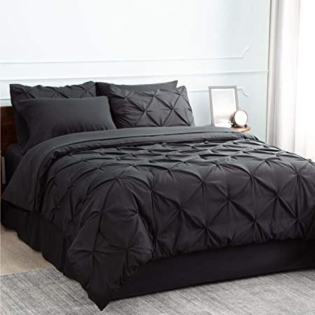 Bedsure Black Comforter Set Black Queen Comforter Set Bed in A Bag Black 8 Pieces - 1 Black Comforter (88x86 Inches), 2 Pillow Shams, 1 Flat Sheet, 1 Fitted Sheet, 1 Bed Skirt, 2 Pillowcases