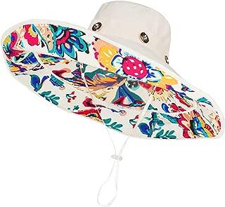 Bienvenu Womens Large Brim Floppy Foldable Roll up UPF 50+ Beach Sun Hat