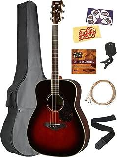 Yamaha FG830 Solid Top Folk Acoustic Guitar - Tobacco Sunburst Bundle with Gig Bag, Tuner, Strings, Strap, Picks, Austin Bazaar Instructional DVD, and Polishing Cloth