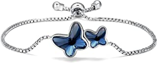 comprar comparacion T400 Pulsera para Mujer Plata de Ley 925 Brazalete de Mariposas Hecho con Cristal,Regalo para Niñas Mujeres