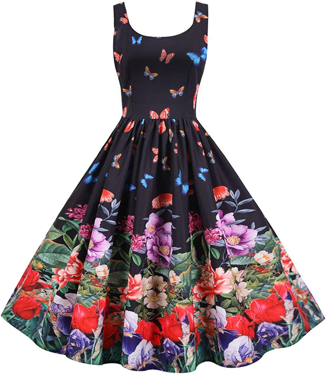Fankle Vintage Tea Dress 1950's Floral Spring Garden Retro Swing Prom Party Cocktail Party Dress for Women