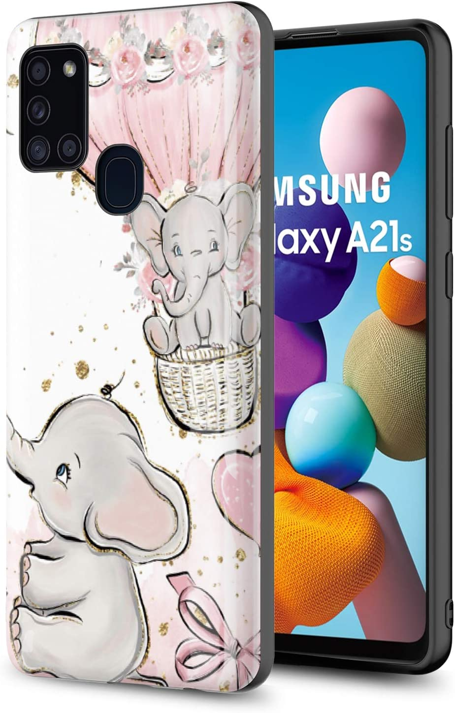 GORGCASE Phone CASE for Samsung Galaxy A21S (NOT FIT A21), Slim Graphic Design Anti-Scratch Shook-Proof Hybrid Rubber PC TPU Bumper Armor Cute Teen Boy Girls Women Drop Protective Cover Elephant