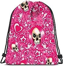 Backpack Drawstring Bag Cartoon Emo Girl Skull With Hair And Crossed Bones Hearts Stars On Grunge Women&Men Sport Gym Sack