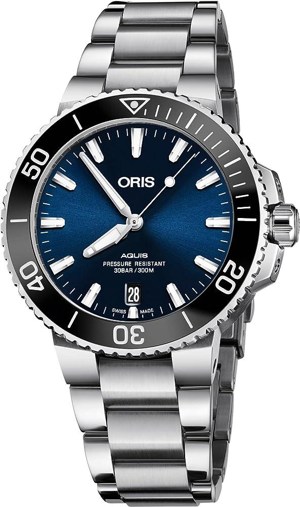 Oris aquis orologio automatico da uomo in acciaio inox quadrante blu 73377324135MB