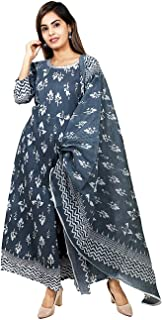 Andy Kudi Cotton 3/4 Sleeve Floral Embroidery Worked Salwar Suit with Dupatta For Women, Anarkali Suit Set, Gray