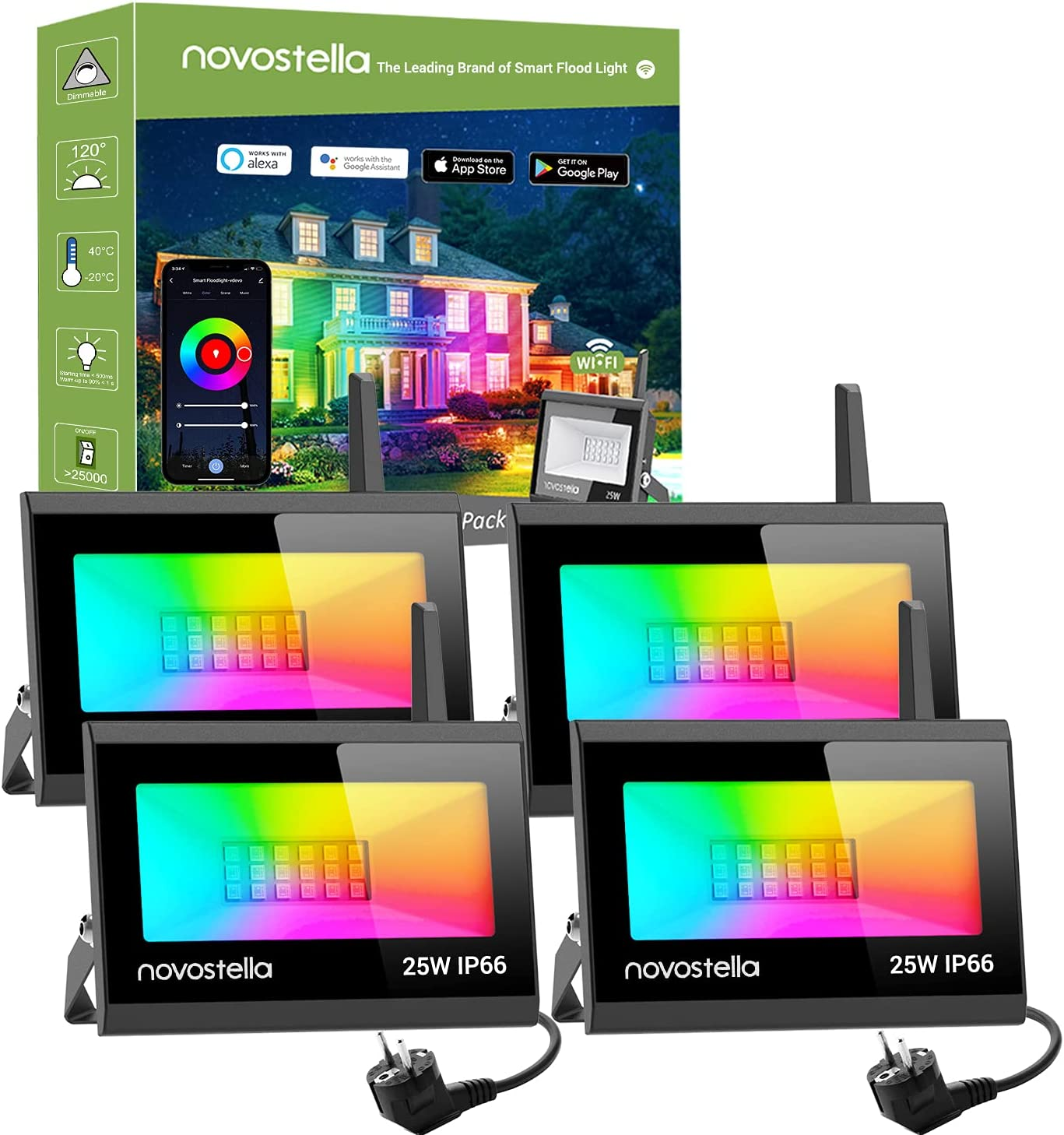 Novostella Blaze Focos LED RGB WiFi Exterior 25W, 4 Piezas Luz de Inundación Multicolor Inteligente Control APP, Compatible con Alexa y Google Home, IP66 Impermeable para Fiesta, Jardín
