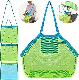 4 Pack Beach Mesh Bolsa de Tela, FineGood Arena Juguetes Shell Reutilizable Bolsa de Almacenamiento Ligero Plegable para Los Niños las Mujeres Hombres - Verde