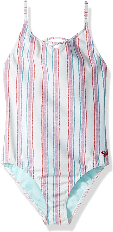 Roxy Girls' Big Little Mermaid Treasure Stripe One Piece Swimsuit, wan blueee