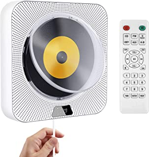 Portable CD Player, Wall Mountable Bluetooth Built-in HiFi Speakers, with Dust Cover/LED Screen,Home Audio FM Radio USB MP...